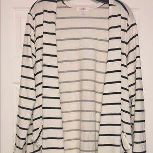 Lularoe XL white black stripe Caroline cardigan